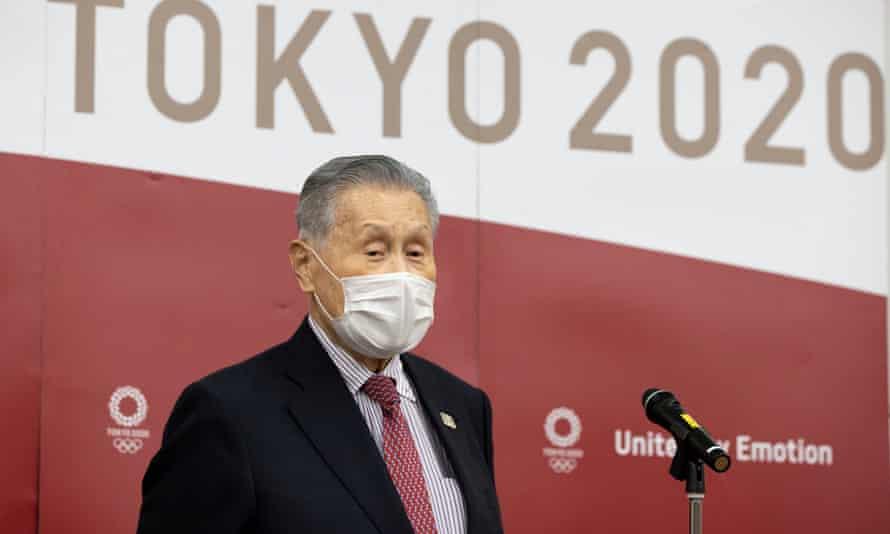 Yoshiro Mori speaks to the media in Tokyo