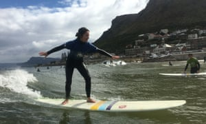Jane Dunford pops up on her board in Muizenberg, South Africa