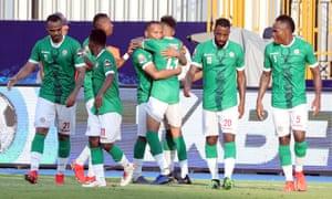 Madagascar's Marco Ilaimaharitra celebrates scoring their first goal with teammates