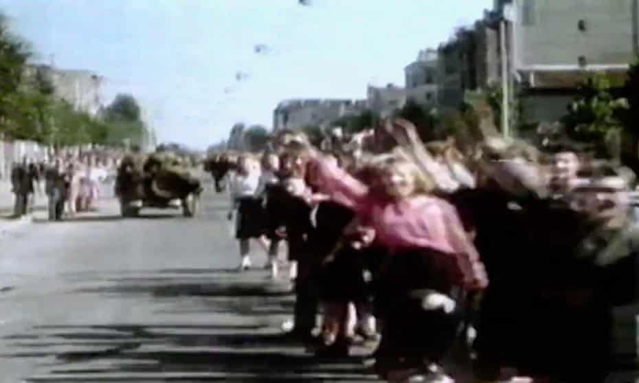 Rare colour wartime footage taken by the film-maker George Stevens was used in the 1985 BBC documentary D-Day to Berlin: Newsnight Special. A re-edited version by his son George Stevens Jr went on to win three Emmys, which were later taken away after he used uncredited material