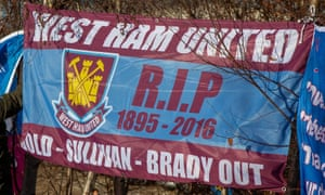 A banner on display at a protest before January's game at home to Everton. West Ham moved from Upton Park to the London Stadium in 2016.