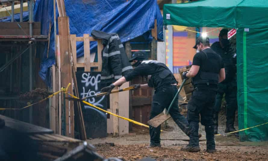 Enforcement officers continue efforts to remove protesters from beneath Euston Square Gardens in London