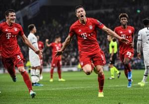 Robert Lewandowski of Bayern Munich celebrates after putting the visitors 2-1 up.