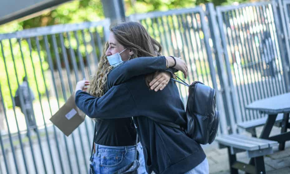 Students in London after receiving their A-level results.