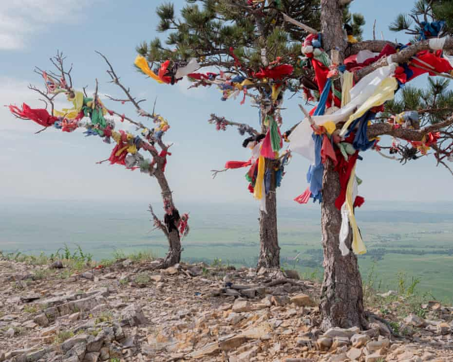 Prayer cloths and tobacco ties are left on trees on Bear Butte, outside of Sturgis, South Dakota, on the northern edge of the Black Hills. Bear Butte is sacred to the Lakota.