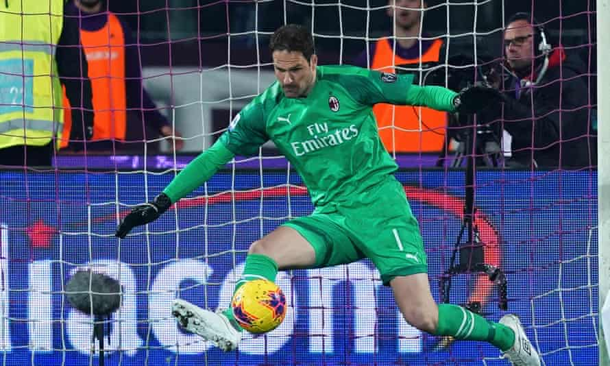 Milan's goalkeeper Asmir Begovic keeps out an effort from Fiorentina on his debut as a substitute in a 1-1 draw during February.