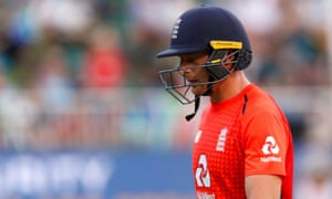 England's Jos Buttler leaves the field after losing his wicket in the second T20 against South Africa.