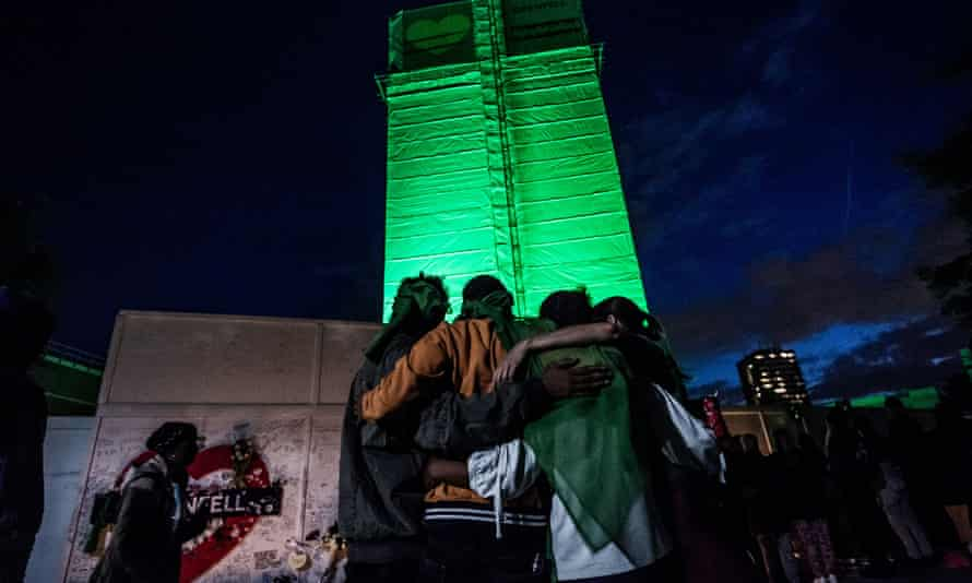 Grenfell Tower on the anniversary of the fire earlier this month.