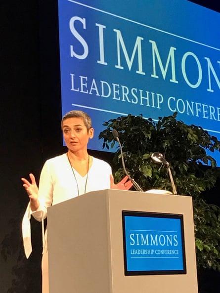 Zainab Salbi speaking at Simmons Leadership Conference