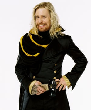 Rockwell as the flamboyant Zaphod Beeblebrox in the film of The Hitchhiker's Guide to the Galaxy.