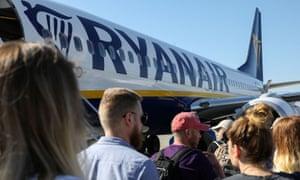 Passengers boarding a Ryanair flight.