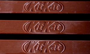 Kit Kat chocolate, produced by Nestlé.