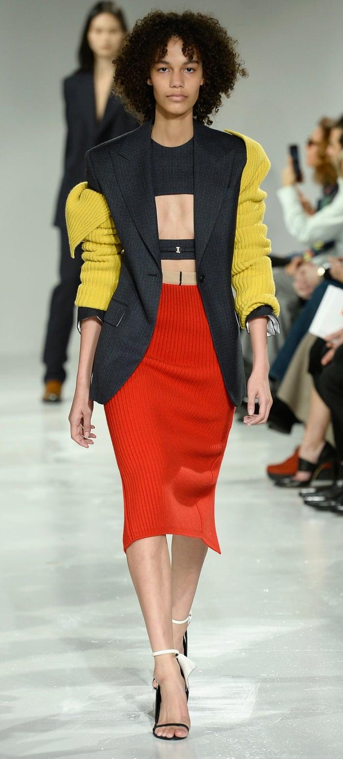 Bonnie 2.0 … a model walks the runway for Calvin Klein at New York fashion week, 2017.