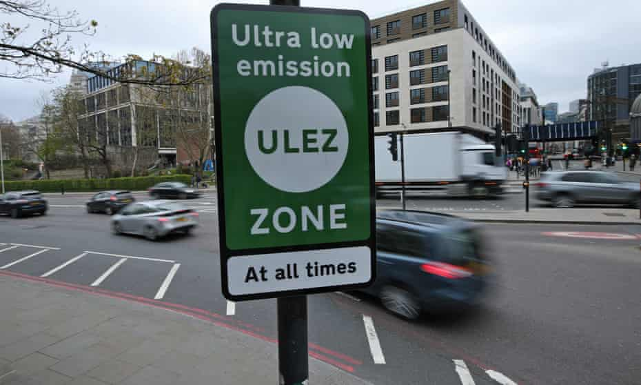 An ultra-low emission zone sign in London.