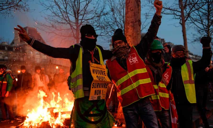 A demonstration in the Place de la Republique, in Paris, part of widespread unrest in France.