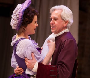 Justine Mitchell and Nicholas Le Prevost in Love for Love in 2015 at the Swan theatre, Stratford-upon-Avon