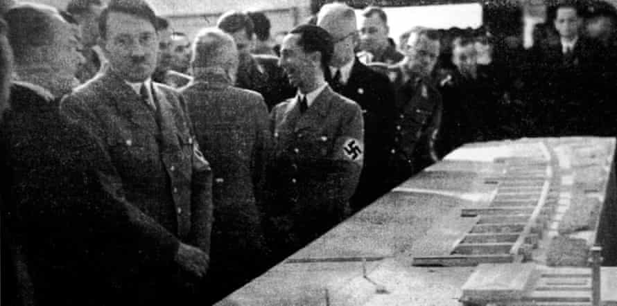 Hitler inspects a model of the Proro holiday camp.