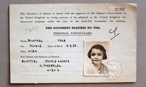 Dame Stephanie Shirley's Kindertransport documents in 1939, under her family name of Vera Buchthal.