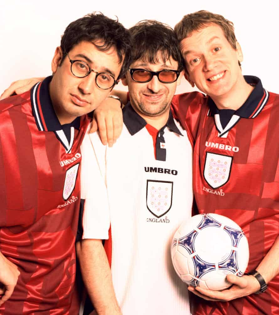 'How many footballers do you want to sing on it?' … David Baddiel, Ian Broudie and Frank Skinner.