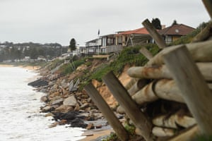 Coastal erosion seen from a property on Ocean View Drive at Terrigal Beach.
