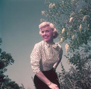 Doris Day portrait in a garden, circa 1962