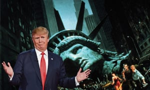 Donald Trump and scene from Escape From New York
