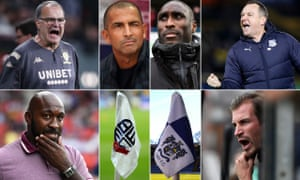 Clockwise: Marcelo Bielsa, Sabri Lamouchi, Sol Campbell, Micky Mellon, Jan Siewert, Bury and Bolton flags and Darren Moore