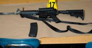 A Bushmaster rifle belonging to the Sandy Hook elementary school gunman is seen in this police evidence photo.