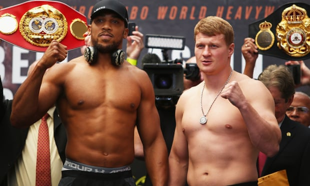 Anthony Joshua (left) has a four-inch height and seven-inch reach advantage over Alexander Povetkin.