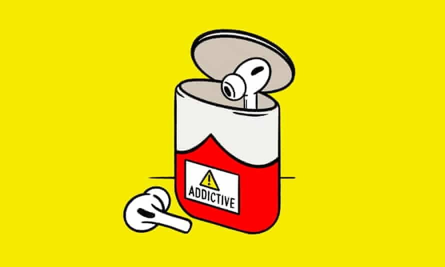 Illustration of earphones and tin labelled addictive