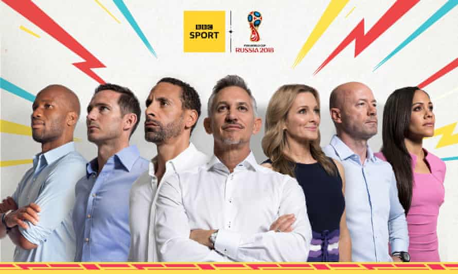 The BBC's World Cup 2018 team includes Gabby Logan (third from right) and Alex Scott (far right).