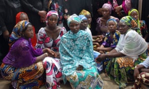 Chibok school girls who escaped from Boko Haram in 2014. The Islamist group has now kidnapped more girls and women.