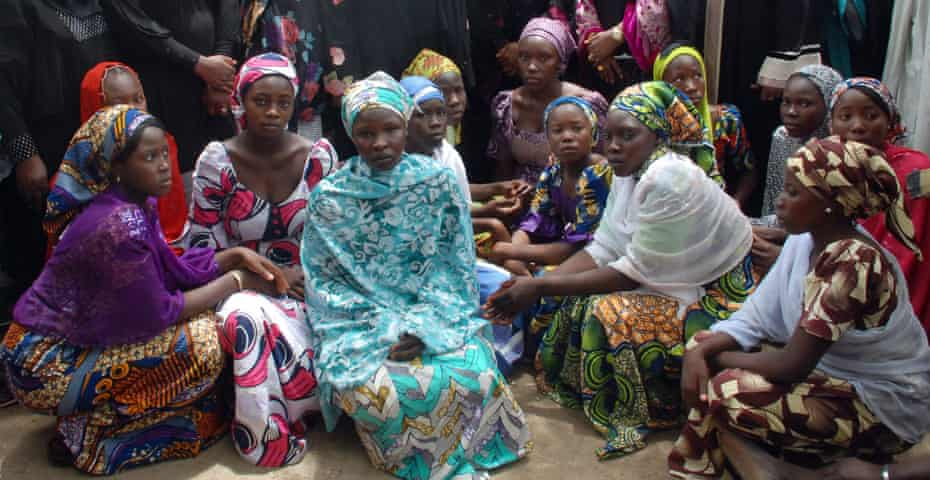 Schoolgirls from Chibok who escaped from Boko Haram, May 2014.