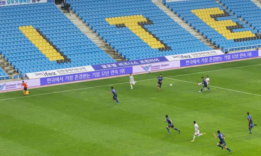 A behind-closed-doors match in South Korea between Incheon United FC vs Deagu FC.
