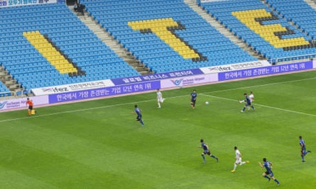 A behind-closed-doors match in South Korea between Incheon United FC vs Deagu FC.