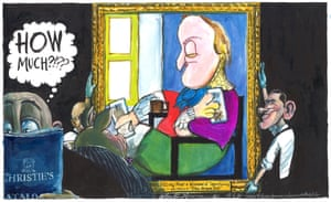 Martin Rowson cartoon, 15/05/20: Picasso-style painting of David Cameron counting money goes up for auction
