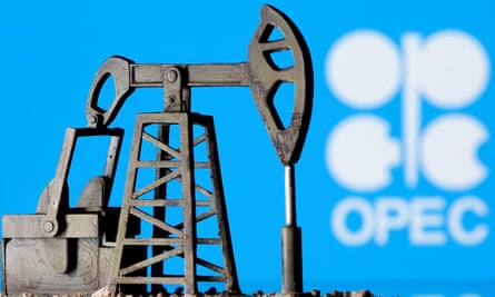 Model of oil pump with Opec logo