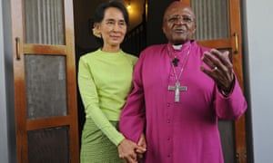 Old friends: Desmond Tutu with Aung San Suu Kyi in Yangon in 2013.