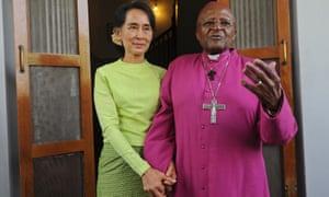 Old friends: Desmond Tutu with Aung San Suu Kyi in Yangon in 2013.