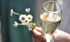 Wedding champagne and wild flowers.