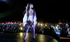 'A fascinating, still-unfolding pop bildungsroman' ... Ariana Grande performing a headline slot at Coachella 2019.