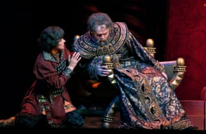 Mikhail Kazakov as Boris Godunov and Elena Novak as Fyodor in the Bolshoi Opera's production at the Royal Opera House, London