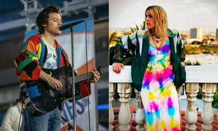 Harry Styles in his Loewe cardy and Busy Philipps wearing tie-dye by Dannijo.
