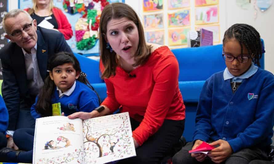 Lib Dem leader Jo Swinson visiting a primary school in Cambridge, UK