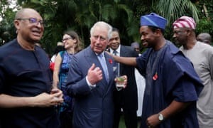 Britain's Prince Charles addressed a reception at the Deputy high commissioner's residence in Lagos.