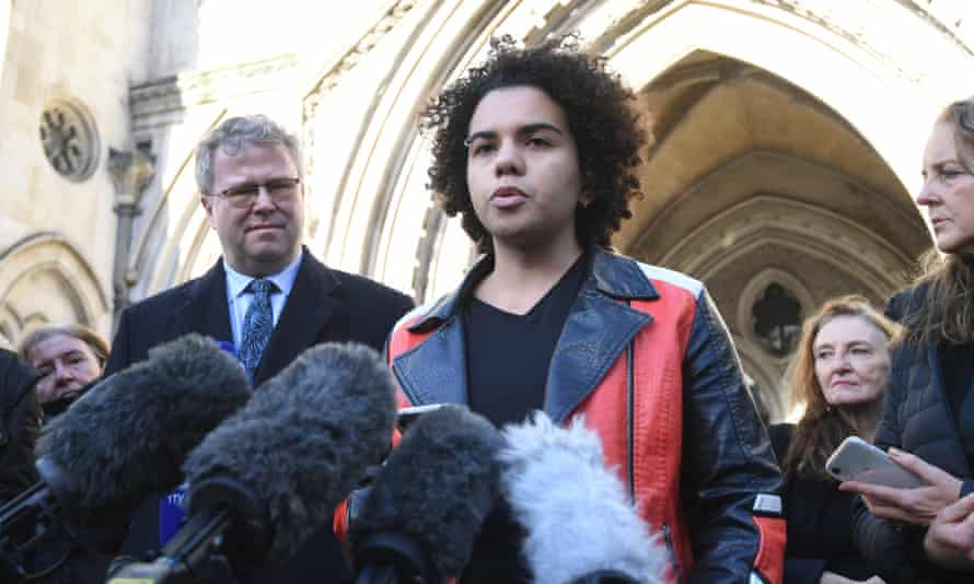 Keira Bell outside the high court after its recent ruling on puberty blockers.
