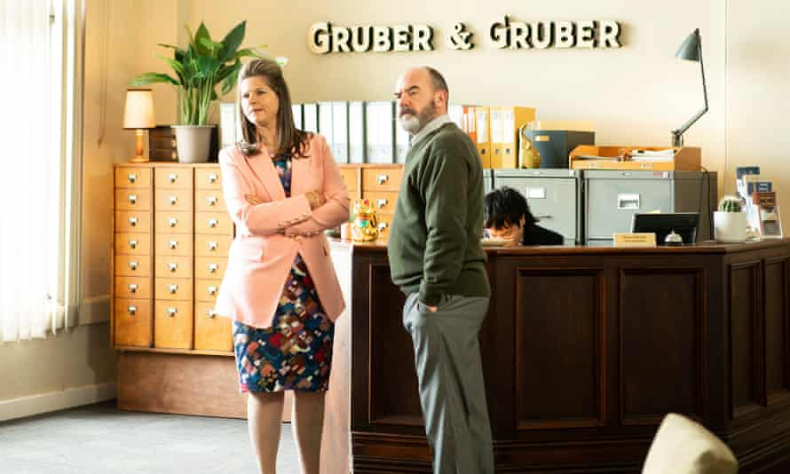 Julia Zemiro, Marty Sheargold and Aaron Chen as Roz, Ray and George in Fisk