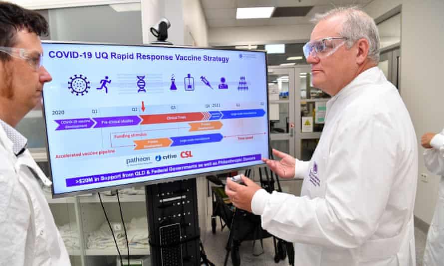 Scott Morrison at the University of Queensland vaccine lab on 12 October, 2020.