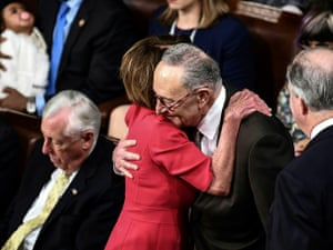 Pelosi is congratulated by Chuck Schumer on being elected House speaker.