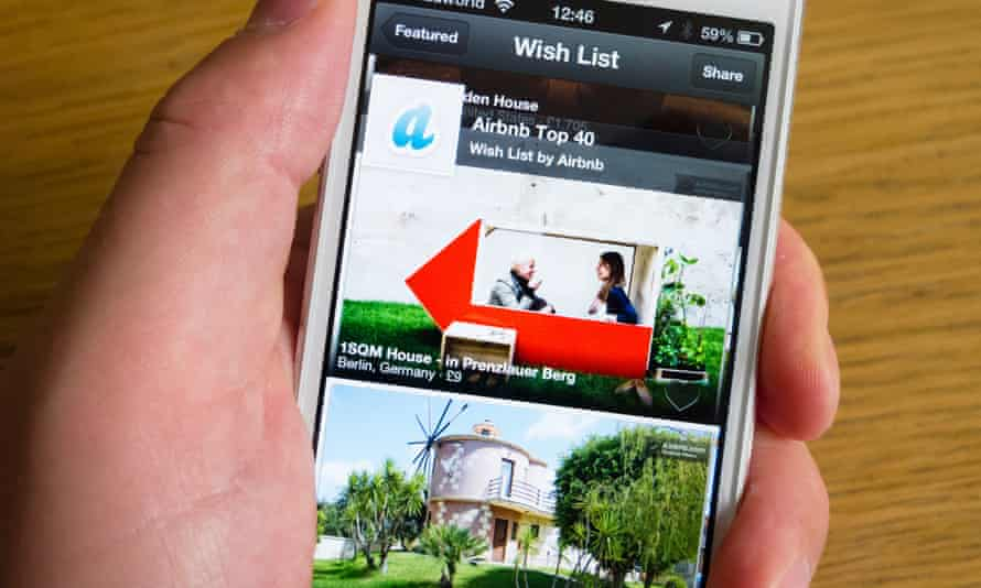 Using the Airbnb app to book holiday accommodation.